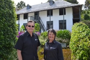 Scott Elliffe and Airini Kingi in front of Pompallier Mission in Russell. (Image Sourced HNZ Media Release)